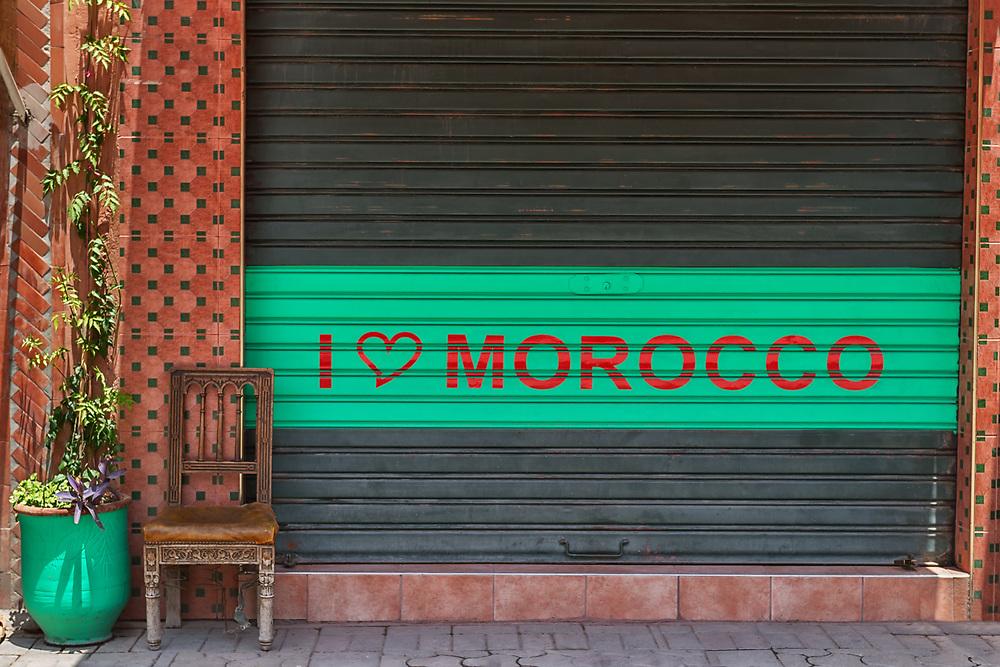 Street scene in the medina of Marrakech, Morocco.