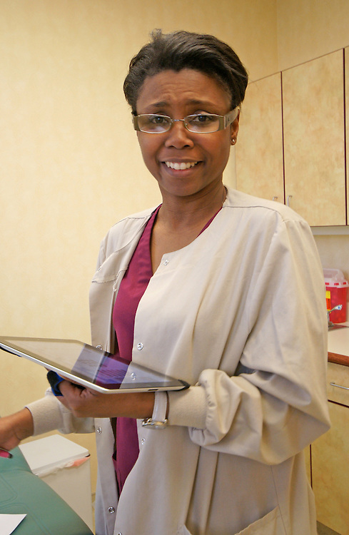 Nurse Uses Computer Pad,  Berks Co., Urology, Wyomissing, PA,