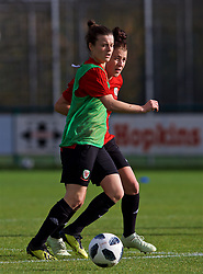 NEWPORT, WALES - Tuesday, November 6, 2018: Wales' Hayley Ladd and Angharad James during a training session at Dragon Park ahead of two games against Portugal. (Pic by Paul Greenwood/Propaganda)