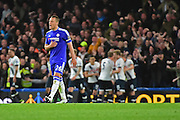 Chelsea Defender John Terry (26) spurs on his team whilst Tottenham celebrate during the Barclays Premier League match between Chelsea and Tottenham Hotspur at Stamford Bridge, London, England on 2 May 2016. Photo by Jon Bromley.