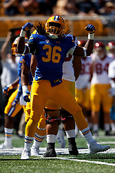 BERKELEY, CA - SEPTEMBER 23:  Linebacker Alex Funches #36 of the California Golden Bears celebrates after sacking quarterback Jack Sears (not pictured) of the USC Trojans during the first quarter at California Memorial Stadium on September 23, 2017 in Berkeley, California. (Photo by Jason O. Watson/Getty Images) *** Local Caption *** Alex Funches