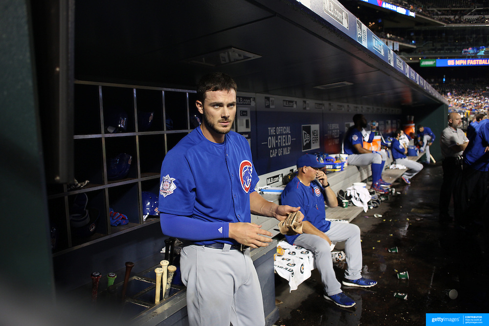 NEW YORK, NEW YORK - July 01: Kris Bryant #17 of the Chicago Cubs in the dugout during the Chicago Cubs Vs New York Mets regular season MLB game at Citi Field on July 01, 2016 in New York City. (Photo by Tim Clayton/Corbis via Getty Images)