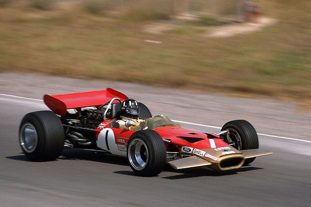 Graham Hill in Lotus 49 at the 1969 Canadian Grand Pix at Mosport. The car's number 1 signifies Hill was the 1968 World Champion.