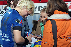 Maja Zrnec signing autographs after EHF Champions league handball match in Group II between RK Krim Mercator and Gyori Audi Eto KC, on February 7, 2009, in Kodeljevo, Ljubljana, Slovenia. Gyori won 35:31. (Photo by Vid Ponikvar / Sportida)