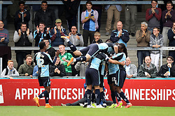 Wycombe Wanderers celebrate Michael Harriman of Wycombe Wanderers goal  - Mandatory byline: Robbie Stephenson/JMP - 07966386802 - 05/09/2015 - FOOTBALL - Adams Park Stadium -Wycombe,England - Wycombe Wanderers v Hartlepool United - Sky Bet League Two