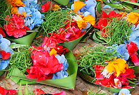 Beautiful flower temple offerings in Bali, Indonesia.