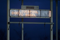 LIVERPOOL, ENGLAND - Tuesday, December 9, 2014: Liverpool's scoreboard resets to 0:00 minutes as the game goes into the 100th minute as the game has 14 minute of injury time against FC Basel during the UEFA Youth League Group B match at Langtree Park. (Pic by David Rawcliffe/Propaganda)