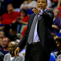 Mar 28, 2016; New Orleans, LA, USA; New Orleans Pelicans head coach Alvin Gentry against the New York Knicks during the second half of a game at the Smoothie King Center. The Pelicans defeated the Knicks 99-91. Mandatory Credit: Derick E. Hingle-USA TODAY Sports