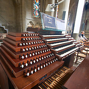 So you say you can play the Piano? The awesome keyboard that is actually a satellite connection to the mega-organ in the Lausanne Cathedral. The keys and function knobs give you an idea of the complexity of playing an instrument that houses over 6 thousand pipes!