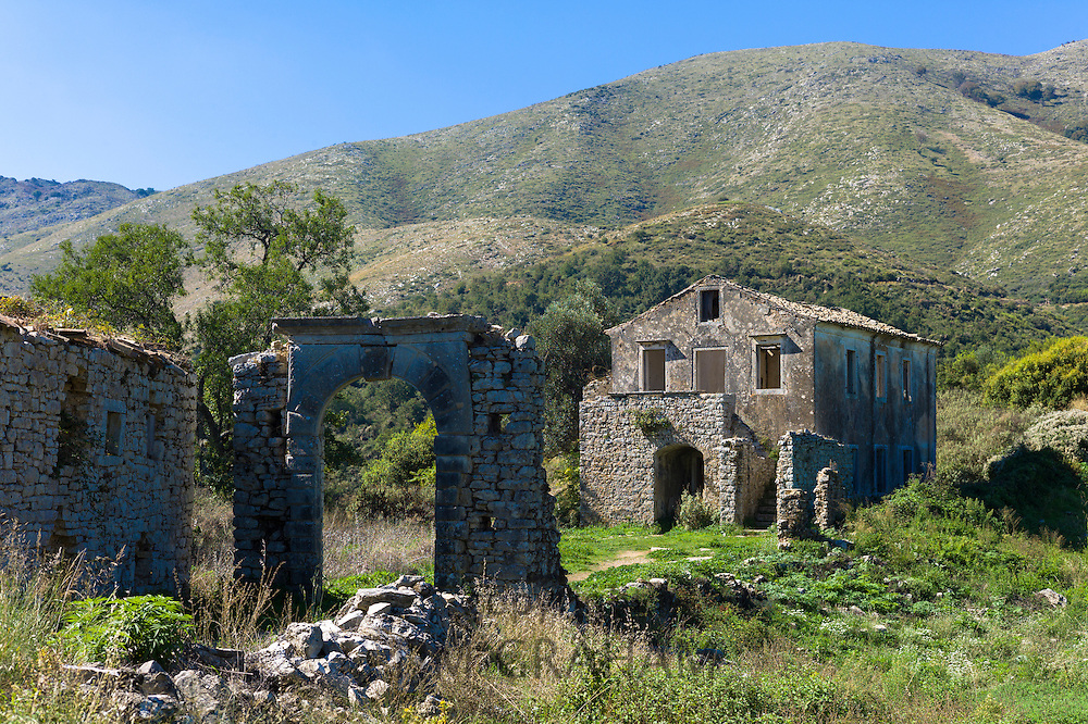 Skordilis Mansion house ruin in oldest town of Corfu - ancient mountain village of Old Perithia - Palea Perithea, Greece