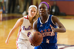 Kentucky Girls All-Star Malaka Frank, right, drives to the basket in the second half. The Kentucky vs. Indiana All-Star Classic was held, Sunday, June 12, 2016 at Knights Hall in Louisville.