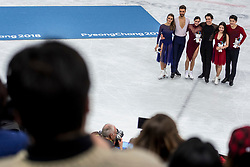 GANGNEUNG, SOUTH KOREA - FEBRUARY 20: Silver medalists Gabriella Papadakis and Guillaume Cizeron of France, gold medalists Tessa Virtue and Scott Moir of Canada, bronze medalists Maia Shibutani and Alex Shibutani of USA during the venue victory ceremony following the Figure Skating Ice Dance Free Dance program on day eleven of the PyeongChang 2018 Winter Olympic Games at Gangneung Ice Arena on February 20, 2018 in Gangneung, South Korea. Photo by Ronald Hoogendoorn / Sportida