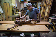 Viggiano, 13/06/2015: Leonardo Fiore artigiano costruttore di arpe secondo un antica tradizione locale - craftsman manufacturer of harps according to an ancient local tradition.