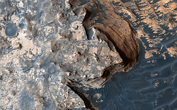 Jun 22, 2017 - Space - This image was acquired by the High Resolution Imaging Science Experiment (HiRISE) camera aboard NASA's Mars Reconnaissance Orbiter on April 18, 2017, at 14:04 local Mars time. It reminded the HiRISE team of the rugged and open terrain of a stark shore-line, perhaps of the British Isles. A close-up in enhanced color produces a striking effect, giving the impression of a cloud-covered cliff edge with foamy waves crashing against it. The reality is that the surface of Mars is much dryer than our imaginations might want to suggest. Dunes visible below the cliff, give the impression of an ocean surface, complete with foam capped waves crashing against the 'shore line,' demonstrating the abstract similarity between the nature of a turbulent ocean and a Martian dune field. (Credit Image: ? JPL/University of Arizona/NASA via ZUMA Wire/ZUMAPRESS.com)
