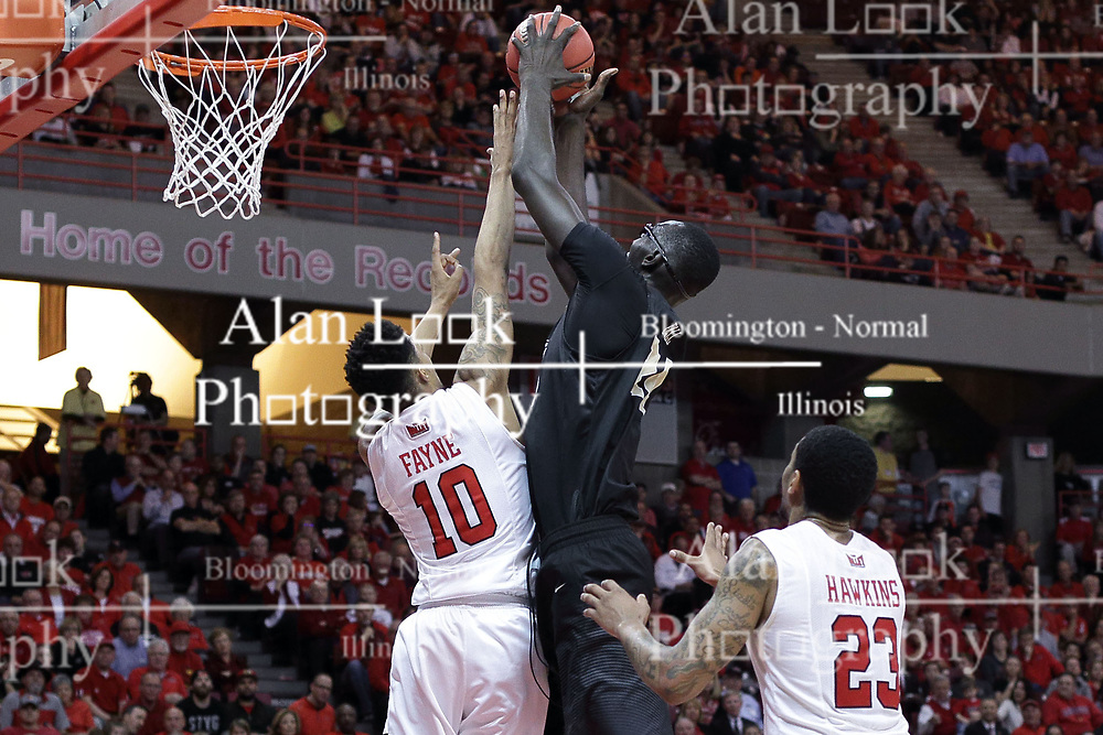 20 March 2017:  Phil Fayne(10) attempts to stop Tacko Fall during a College NIT (National Invitational Tournament) 2nd round mens basketball game between the UCF (University of Central Florida) Knights and Illinois State Redbirds in  Redbird Arena, Normal IL