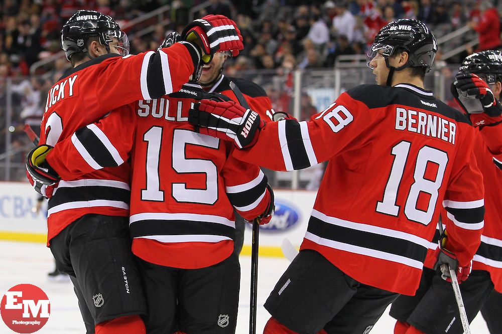 Apr 23, 2013; Newark, NJ, USA; New Jersey Devils celebrate a goal by New Jersey Devils center Steve Sullivan (15) during the second period of their game against the Montreal Canadiens at the Prudential Center.