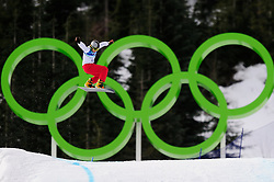 Olympic Winter Games Vancouver 2010 - Olympische Winter Spiele Vancouver 2010, Snowboard (Ladies' Snowboard Cross), Regino Hernandez of Spain soars above the Olympic rings during a men's snowboard cross qualifying run at Cypress Mountain in Vancouver BC, Canada during the 2010 Winter Olympics Monday February 15, 2010..Photo by newsport / HOCH ZWEI / SPORTIDA.com.