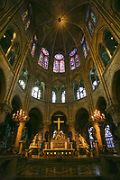 Notre Dame de Paris carhedral interior navealtar rose window