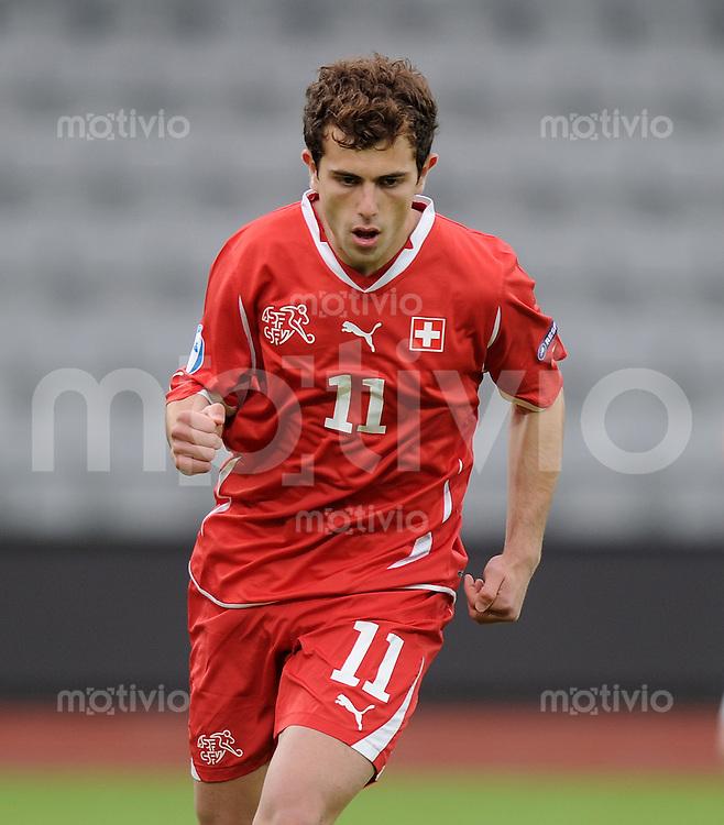 FUSSBALL   UEFA U21-EUROPAMEISTERSCHAFT 2011   GRUPPE A       18.06.2011 Schweiz - Weissrussland Admir Mehmedi (Schweiz) jubelt nach dem Elfmeter