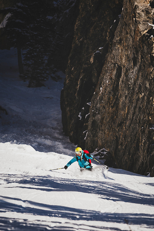 Caroline Gleich skis out of the Benson and Hedges Couloir in the Wasatch Mountains.