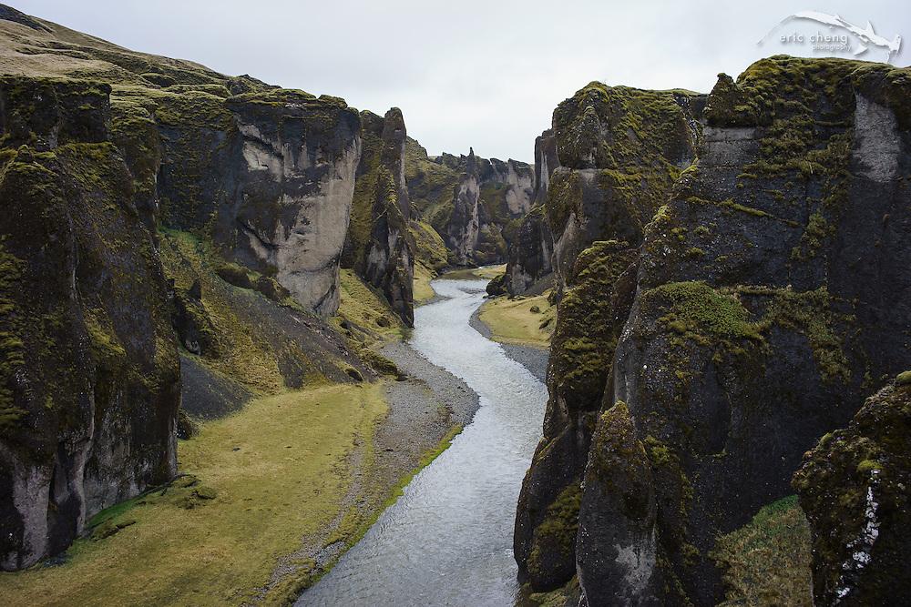 Fjadrargljufur Canyon (Fjaðrárgljúfur), near Kirkjubæjarklaustur in Iceland. DJI Phantom 2 w/Ricoh GR camera.
