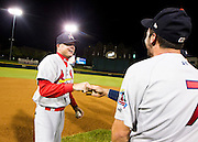 Manager Mike Shildt (8) of the Springfield Cardinals celebrates with his team after game 4 of the Texas League Championship Series against the Frisco RoughRiders at Dr. Pepper BallPark on September 15, 2012 in Frisco, TX.  The Cardinals became the 2012 Texas League Champions after defeating the RoughRiders 2-1.  (David Welker)
