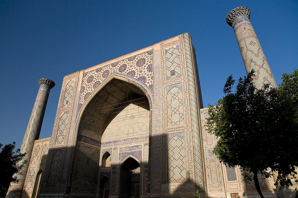 Entrance to Ulugbek Medrassa, with shadow of Sher Dor Medrassa, Samarkand