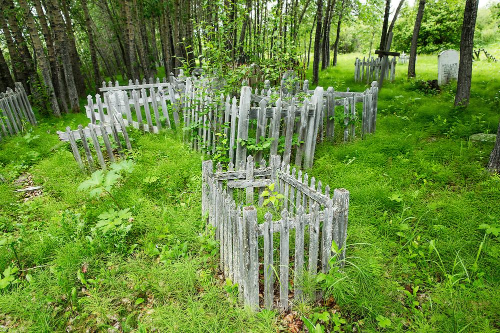 Canada, Manitoba, York Factory National Historic Site, Historic graveyard at edge of boreal forest above Hayes River along Hudson Bay