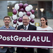 09.03.2017<br /> Pictured at the University of Limerick Post Grad Open Evening in the North Campus Pavilion were, Dr. Stephen Kinsella, senior lecturer in Economics, KBS, University of Limerick, Dr. Huw Lewis, Dean Graduate Studies, University of Limerick and Jessie Barr, PHD Student at the University of Limerick. Picture: Alan Place