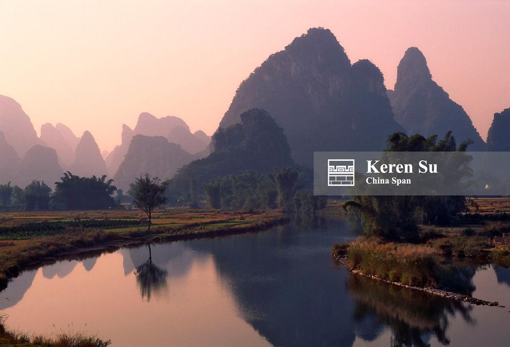 China, Guangxi Province, Yangshuo, Li River and karst hills