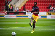 Josh Emmanuel of Bolton Wanderers warming up before the EFL Sky Bet League 1 match between Rotherham United and Bolton Wanderers at the AESSEAL New York Stadium, Rotherham, England on 14 September 2019.