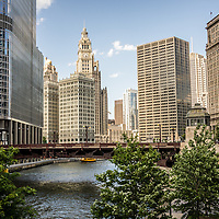 High resolution photo of Chicago skyline at Wabash Avenue Bridge including the Chicago River, Trump Tower, Wrigley Building, and the Equitable Building. Picture was taken in 2012.