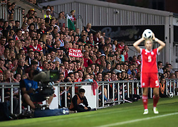 NEWPORT, WALES - Thursday, August 30, 2018: A fan waves a Wales' sign during the FIFA Women's World Cup 2019 Qualifying Round Group 1 match between Wales and England at Rodney Parade. (Pic by Laura Malkin/Propaganda)