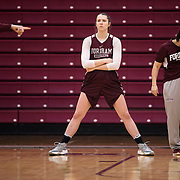 December 16, 2016 - New York, NY : Danielle Padovano, center, a senior forward for the Fordham University Women's Basketball Team, waits courtside during a drill at practices in Rose Hill Gymnasium on Friday. CREDIT: Karsten Moran for The New York Times