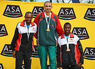 NELSPRUIT, SOUTH AFRICA - NOVEMBER 04: Gladwin Mzazi, (CGA), Elroy Gelant (ACNW) and Precious Mashale (CGA) on the podium during the ASA 10km Championships on Saturday November 04, 2017 in Nelspruit, South Africa. <br /> (Photo by Roger Sedres/ImageSA/Gallo Images)
