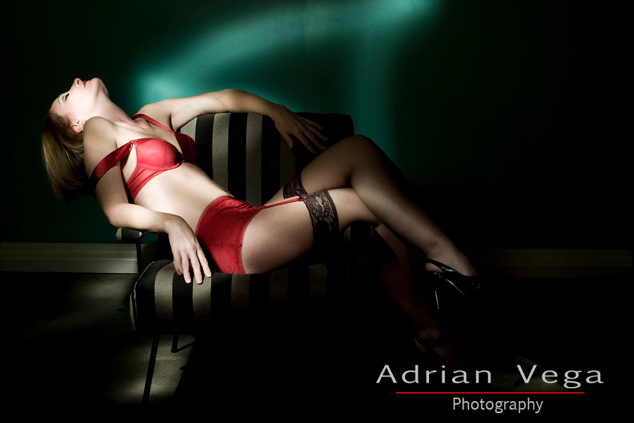 Light painting lingerie and boudoir with red lingerie model