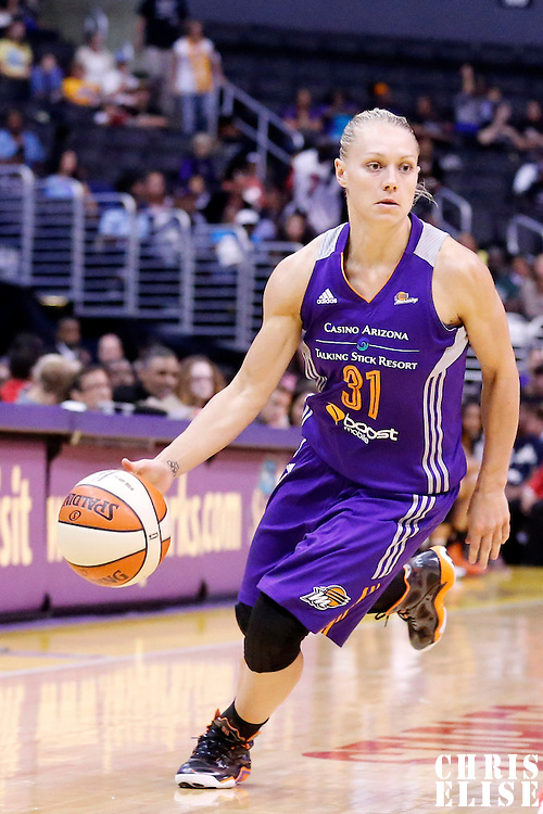 18 May 2014: Phoenix Mercury guard Erin Phillips (31) dribbles during the Phoenix Mercury 74-69 victory over the Los Angeles Sparks, at the Staples Center, Los Angeles, California, USA.
