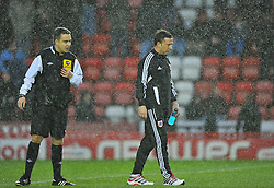 Bristol City Manager, Derek McInnes talks to Referee Michael Naylor before he calls the game off - Photo mandatory by-line: Joe Meredith/JMP  - Tel: Mobile:07966 386802 26/12/2012 - Bristol City v Watford - SPORT - FOOTBALL - Championship -  Bristol  - Ashton Gate Stadium -