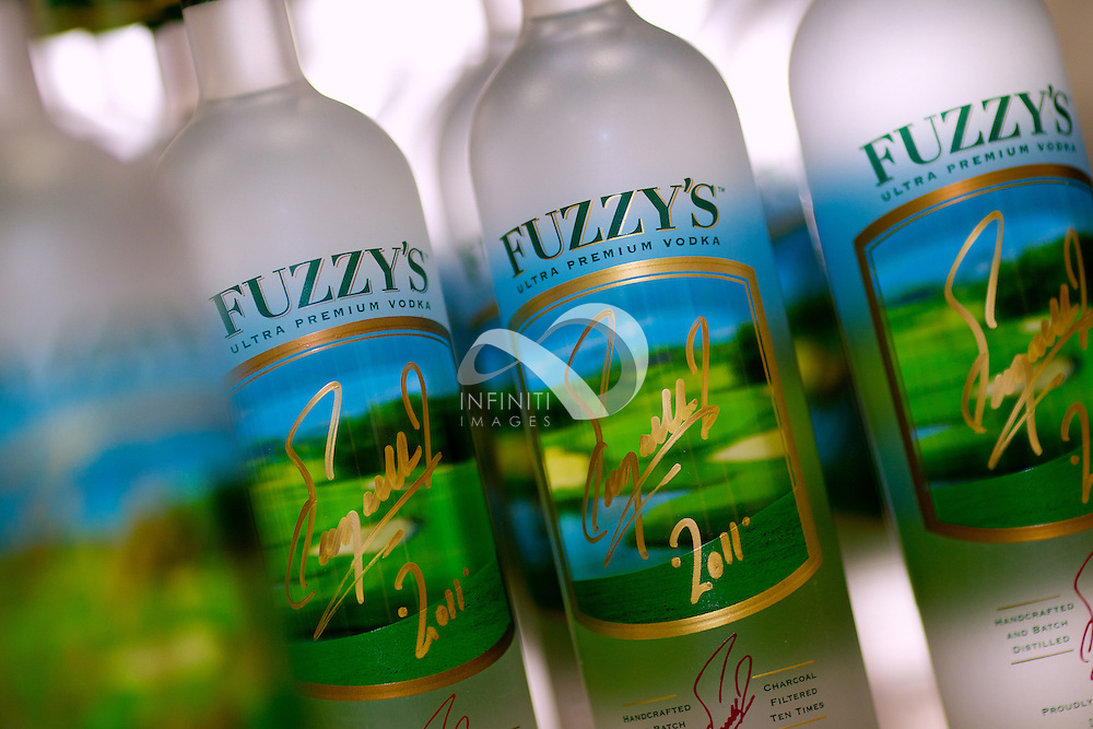Bottles of Fuzzy's Ultra Premium Vodka signed by Fuzzy Zoeller in Indianapolis, Indiana.<br /> Photo by Infiniti Images