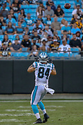 Carolina Panthers tight end Jason Vander Laan (84) catches a pass against the Pittsburgh Steelers during a NFL football game, Thursday, Aug. 29, 2019, in Charlotte, N.C. The Panthers defeated the Steelers 25-19.  (Brian Villanueva/Image of Sport)
