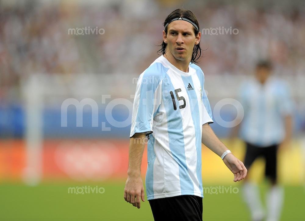 Olympia 2008  Peking  Fussball  Maenner   Vorrunde  10.08.2008 Argentinen - Australien   Lionel Messi (ARG).