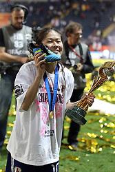 17.07.2011, Commerzbankarena, Frankfurt, GER, FIFA Women Worldcup 2011, Finale,  Japan (JPN) vs. USA (USA), im Bild:  .Homare Sawa (Japan) mit ihrem Schuh.. // during the FIFA Women Worldcup 2011, final, Japan vs USA on 2011/07/11, FIFA Frauen-WM-Stadion Frankfurt, Frankfurt, Germany.   EXPA Pictures © 2011, PhotoCredit: EXPA/ nph/  Mueller       ****** out of GER / CRO  / BEL ******