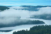 View of Lac Wapizagonke on moring fog from the lookout<br />La Mauricie National Park<br />Quebec<br />Canada