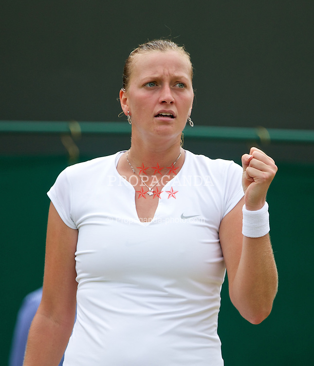 LONDON, ENGLAND - Monday, July 1, 2013: Petra Kvitova (CZE) during the Ladies' Singles 4th Round match on day seven of the Wimbledon Lawn Tennis Championships at the All England Lawn Tennis and Croquet Club. (Pic by David Rawcliffe/Propaganda)