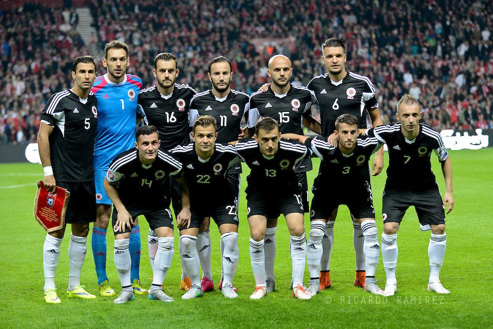 04.09.2015. Copenhagen, Denmark. <br /> UEFA European Champions Group I, Denmark 0 vs. Albania 0.<br /> The Albania team before the match against Denmark at Parken Stadium in Copenhagen.<br /> Photo: © Ricardo Ramirez