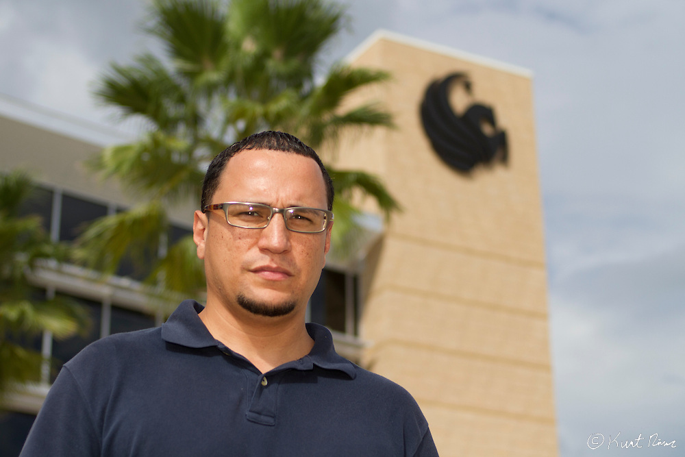 35 year old Luis Lebron, a Navy veteran and University of Central Florida student, is suing the state of Florida over a new law that requires welfare applicants to pass a drug test to receive benefits. Photo taken on the UCF campus in Orlando, FL on September 06, 2011.