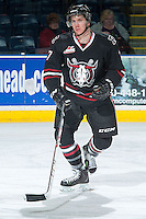 KELOWNA, CANADA -FEBRUARY 5: Brady Gaudet D #7 of the Red Deer Rebels skates during warm up against the Kelowna Rockets on February 5, 2014 at Prospera Place in Kelowna, British Columbia, Canada.   (Photo by Marissa Baecker/Getty Images)  *** Local Caption *** Brady Gaudet;