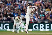 Rory Burns of England is tested by a bouncer from Pat Cummins of Australia during the International Test Match 2019, fourth test, day three match between England and Australia at Old Trafford, Manchester, England on 6 September 2019.