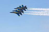 The Navy aeronautic team, Blue Angels in a tight formation