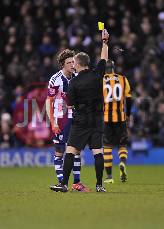 West Bromwich Albion's Billy Jones gets booked.- Photo mandatory by-line: Alex James/JMP - Tel: Mobile: 07966 386802 21/12/2013 - SPORT - FOOTBALL - The Hawthorns - West Bromwich - West Brom v Hull City - Barclays Premier League